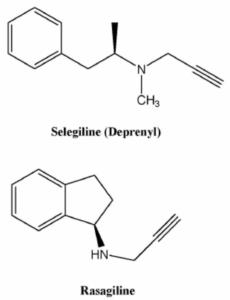 Struktury chemiczne rasagiliny i selegiliny