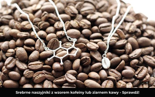 srebrne naszyjniki z wzorem kofeiny i ziarnem kawy