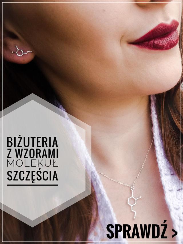 biżuteria damska z wzorami chemicznymi