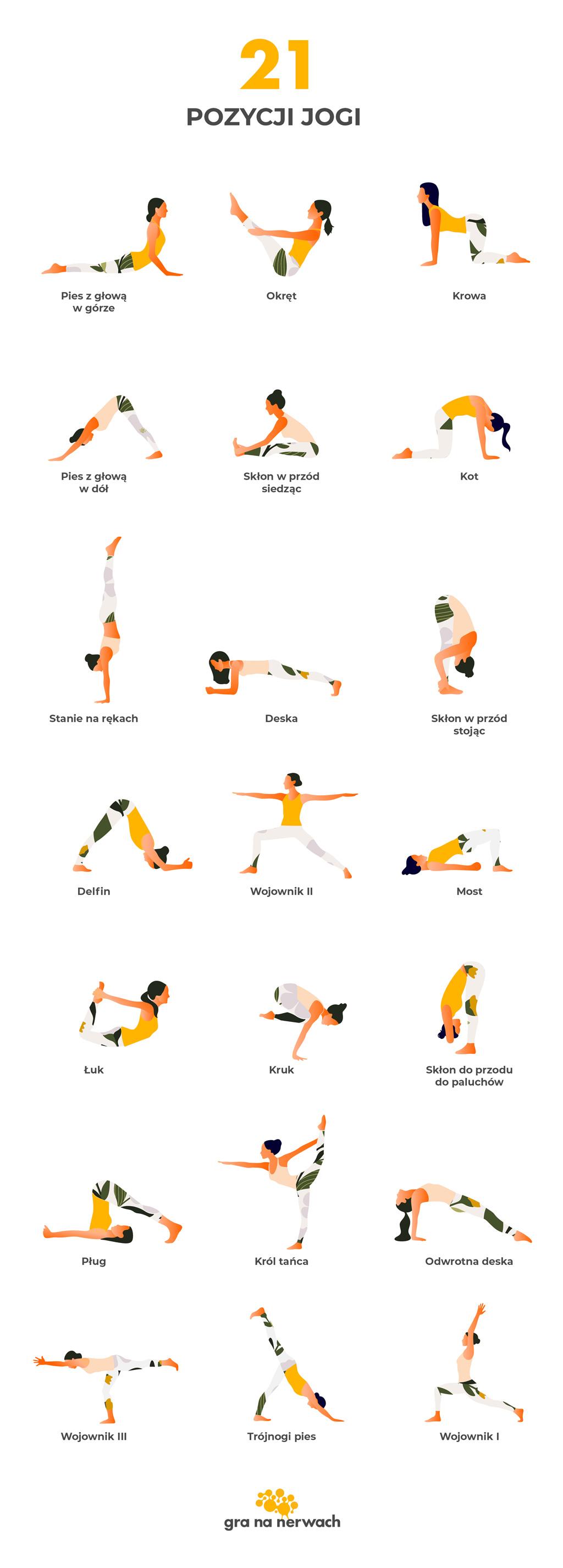 21 pozycji jogi (asan). Podstawowe asany w jodze